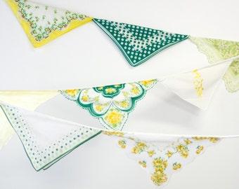 Wedding Handkerchief Banner - Birthday Party Decoration - Vintage Hankie Bunting - Handkerchief Garland - Green and Yellow