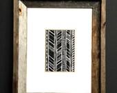 Linocut Print - Geometric Chevron Patterns 5 x 7 Block Print - 1-8017
