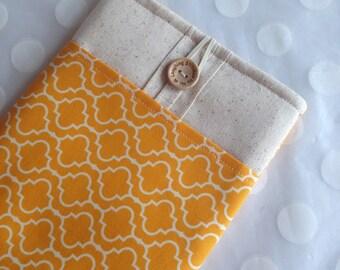 ipad mini case - ipad mini sleeve - ereader case- Kindle Fire cover - ipad mini cover / goldenrod quatrefoil fabric
