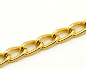 Gold Curb Chain - 32 Feet (10M) - Open Links -  6x3.5mm - Ships IMMEDIATELY from California - CH428