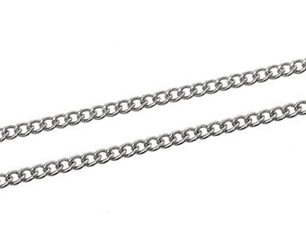Silver Link Curb Chain - 2x1mm - 20M (66ft) - Ships IMMEDIATELY from California - CH451