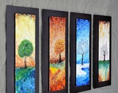 "The Four Seasons - Fused Glass Wall Art with Textured Relief -  Mounted On Steel - 10""x24"" each"