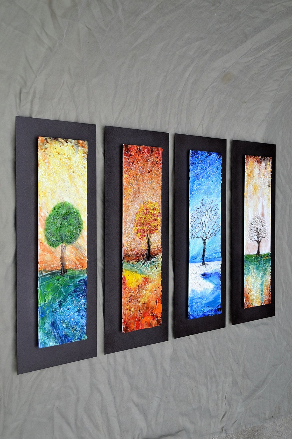Wall Art Fused Glass : The four seasons fused glass wall art with textured by