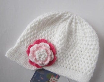 Crochet White Newsboy Hat, Flower Beanie for girls, Spring Flower Hat, Crochet Flower Girl Cap, Girl Newsboy Hat, Toddler Flapper Hat