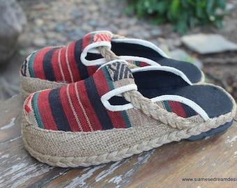 Womens Clogs  in Striped Tribal Naga Slip On Slide Shoes Vegan - Sydney