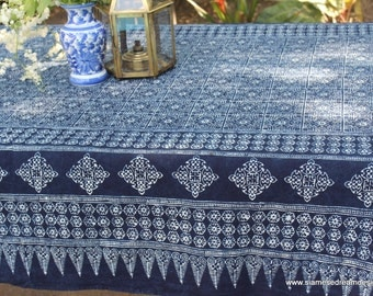 Rectangle Table Cloth Hmong Indigo Batik Naturally Dyed Cotton 3 Sizes FREE Shipping