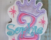 Personalized Birthday iron on ~Applique Patch~ 2nd birthday~ Princess Birthday~ aqua pink purple~ Bling Birthday~ Princess Crown Birthday ~