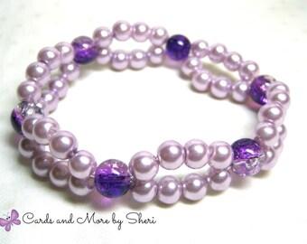 Purple Pearl Double Strand Stretch Bracelet