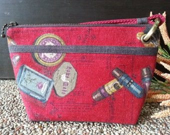 Zipper Cosmetic Pouch / Dark Red Color Cosmetic Pouch