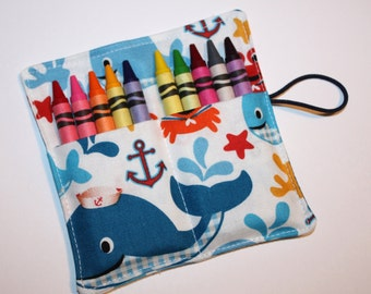 Whales Crayon Rolls, Cute Whales & Crabs Crayon Rolls, Birthday Party Favors