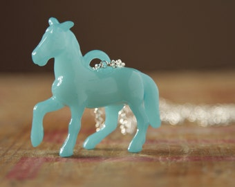 Horse jewelry - ocean blue necklace - pony necklace