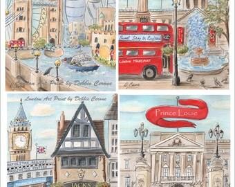 London Prints, Nursery Art, Personalized Boy Baby Shower Gift, Paddington Bear, Big Ben, Boy Or Girls Name Custom Art, Set Of 4, 6 Sizes