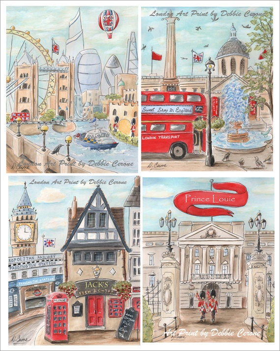 London baby london decor travel art british themed red blue for London themed bathroom accessories