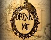 Alice In Wonderland Necklace Drink Me Alice's Adventures in Wonderland  Literature Pendant Charm
