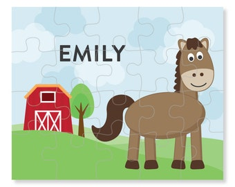 Horse Puzzle - Personalized Puzzle for Kids - Jigsaw Puzzle - Children Puzzles - Personalized Name Puzzle - 8 x 10 puzzle, 20 pieces