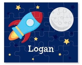Spaceship Puzzle - Rocket Puzzle - Personalized Kids Puzzle - Children Puzzles - Personalized Name Puzzle - 8 x 10 puzzle, 20 pieces