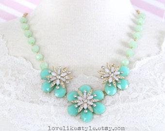 Mint Flower Statement Necklace, Bridal Necklace, Bridesmaid Necklace, Mint Flower Bib Necklace