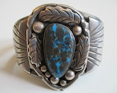 Vintage Navajo Sterling Silver and Morenci Turquoise bracelet 84 Grams