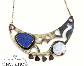 Blue Lapis Chrysocolla White Druzy Choker Short Necklace Copper Brass Soldered Boho Hippie Ethnic Bib Statement Bib