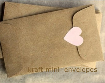 25 Kraft Coin Envelopes, brown bag kraft. Perfect for wedding favors, letterpress, crafts, small eco friendly
