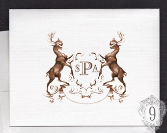 Stag Crest Monogrammed Note Cards, Soft Linen Textured Personalized Note Cards, Stationery, Set of 10 Folding Note Cards by No.9