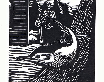 White Breasted Nuthatch Linoleum Block Print