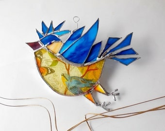 The Happy Bluebird In The Wind Woodland Home Decor Stained Glass Suncatcher Made to order