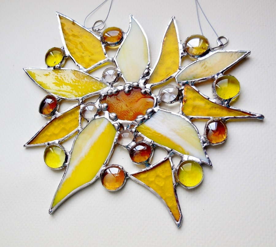 Yellow Sun Wall Decor : Smiling yellow morning sun wall decor stained glass