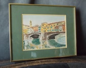 SALE  Vintage Hand Colored Etching Art- Ponte Vecchio, Florence