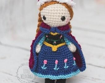 Frozen inspired Anna crocheted doll