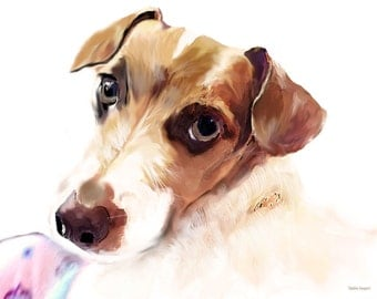 Digital Portrait of a Jack Russell Terrier Mix
