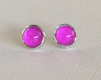 Stud Earrings,Bright Fuchsia Pink Glass Cabochon Post Earrings,10mm,Glass Dome Earrings