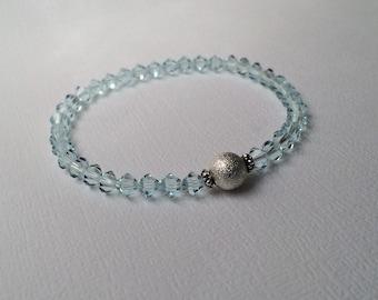 Swarovski Crystal Bracelet, LIGHT AZORE, Ice Blue Bracelet, Light Blue Bracelet, Swarovski crystals, Stretch bracelet, Bridesmaid gifts