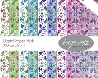 Victorian Paper download, Printable Damask paper, vintage paper download, elegant paper, blue paper, purple paper, green paper, scrapbooking