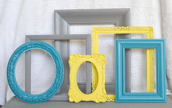Items similar to Teal Yellow Grey Frame Set Custom Frames Open or Frames  with GLASS You Choose Frame Collection Peacock Blue Gray Bright Yellow on  Etsy. Items similar to Teal Yellow Grey Frame Set Custom Frames Open or