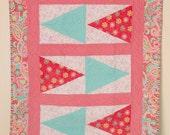 Aqua Blue and Pink Paisley Baby Girl Crib Quilt, Baby Quilt, Baby Girl, Flannel Quilt, Homemade Quilt, Handmade Quilt, Paisley and Butterfly