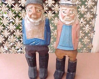 2 Vintage Carved Wood Fisherman Sailors