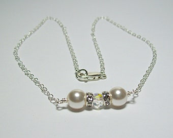 Swarovski White Pearl Chain Necklace. Swarovski Pearls and Crystals on Silver Filled Chain. Bride's Necklace. White Wedding. Dressy. Formal.