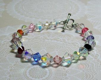 Sterling Silver Swarovski Crystal Bracelet. Multicolored Crystals and Sterling Silver. Sparkly. Dressy. Colorful.