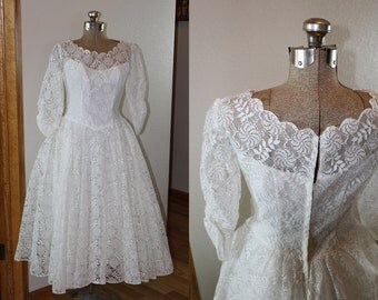 Vintage 1950s Lace Tea Length Wedding Dress With Beaded Viel & French Room Satin Shoes