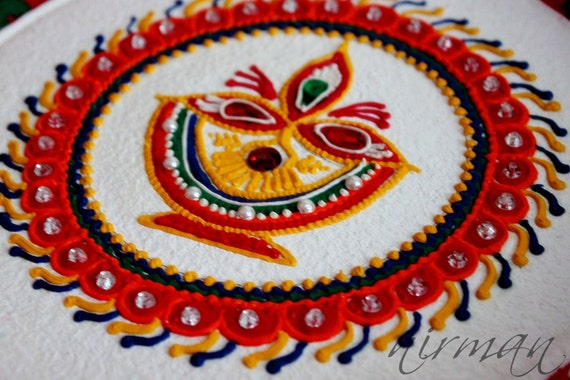 Diya pooja thali decorative henna design thali festive for Aarti thali decoration with kundan