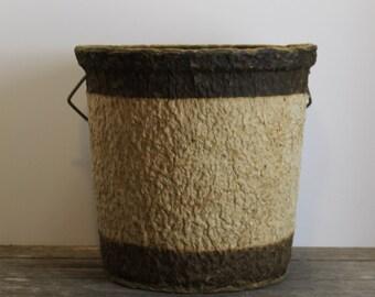 Vintage Paper Mache Bucket // Rustic // Primitive