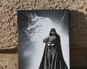 Darth Vader STAR WARS 9x12 Black & White Painting