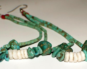 OLD NAVAJO JOCLA Pair Turquoise Spiny Oyster c1980