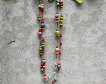 Extra long wooden bead necklace, green, red, grey, boho, gypsy, contemporary, summer, winter.