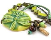 Ceramic Cuff Bracelet - Lemon Lime Dragonfly Bracelet - Boho Cuff Bracelet - Green & Yellow Boehmian Bracelet - SRAJD 3955