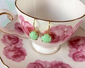Mintgreen glass cabochon earrings