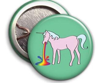 Unicorn Vomit, Sick - Button Badge - 25mm 1 inch