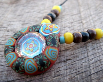 Tribal pendant, handmade from polymer clay and glass with millefiori tribal patterns inspired by Native American beadwork, one of a kind