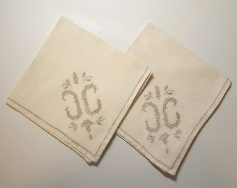 """A Pair of 1930s COCKTAIL NAPKINS - Ecru Linen with Beige Embroidery -  9 1/2"""" (24.2 cm)  x  9 3/4"""" (24.8 cm)"""